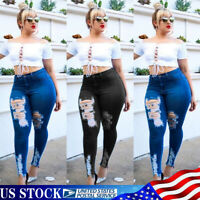 Plus Size Womens Denim Jeans High Waist Ripped Skinny Jeggings Trousers Pants US