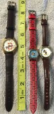 Watch Lot 3 Pieces Mickey Mouse, Paul Frank And San Diego Padres Leather Bands