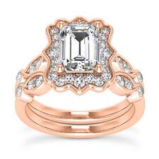Vintage Halo 2.00 Ct VS2/H Emerald Diamond Engagement Ring Rose Gold Bridal Set