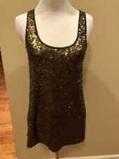 Express Dark Bronze Sequined Sequins long Tank Top blouse women Size Small