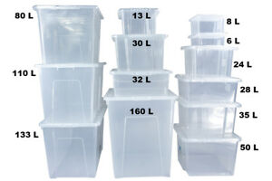 Clear Plastic Storage Boxes With Black Lids Home Office Stackable Strong Quality