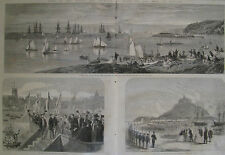 PLYMOUTH SOUND ENGLAND 1865 ILLUSTRATED LONDON NEWS