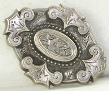 VICTORIAN ANTIQUE STERLING SILVER MOURNING HAIR PIN