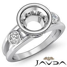 Brilliant Round Diamond Engagement 3 Stone 0.5Ct Ring Semi Mount 14k White Gold
