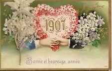 CP FANTAISIE GAUFREE BONNE ET HEUREUSE ANNEE 1907