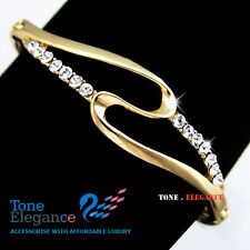 9ct 9k yellow gold gf ladies solid bangle bracelet made with swarovski elements