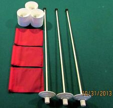 "PUTTING GREEN PACKAGE - 3 POLES - 3 RED FLAGS - 3 ALUMINUM - 4 1/4"" CUPS"