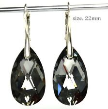 925 Silver Earrings made with  Swarovski Crystals - Silver Night -  22mm