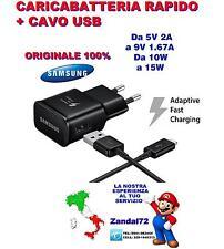 CARICABATTERIA RAPIDO ORIGINALE SAMSUNG + CAVO USB GALAXY S6 S7 NOTE 5 FAST NERO