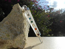 7 CHAKRA FACETED CRYSTAL QUARTZ HEALING AURA WAND WITH CRYSTAL BALL & POINT.#22