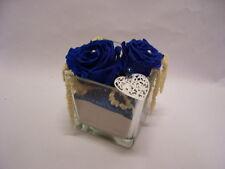ROSE BLU disidratate stabilizzate  in cubo vetro con cuore  fiori artificiali