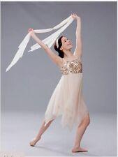 Revolution Ice Figure Skating Dress/Dance/ballet Sequins Yl 10/12 Beige Buterfly