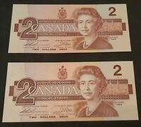 1986 $ 2 DOLLAR CANADA BILL NOTE GEM CONDITION