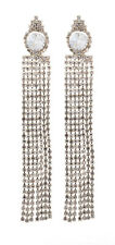 CLIP ON EARRINGS - gold plated chandelier earring with crystal strands - Veda G