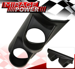 Universal JDM Racing 2 Hole Dual Pillar Glow Gauge Mount Pod Cup ABS Black VIP