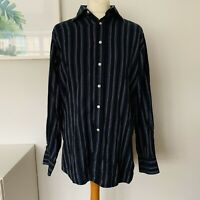 TOMMY HILFIGER Shirt Size XL Navy BLUE | Striped Smart Casual Work Party