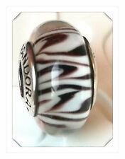 Authentic Pandora  925 silver murano bead charm  glass zebra