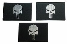 "Marvel Punisher Skull 3"" Wide Embroidered Iron On Patch Set of 3 Patches"