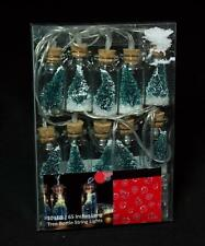 LED Light String - 10 Green Bottle Brush Trees In Glass Bottles