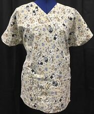 Scrub Top Tan Animals Uniform Medical Shirt Vet Unisex Dog Cat Women's XS Cintas