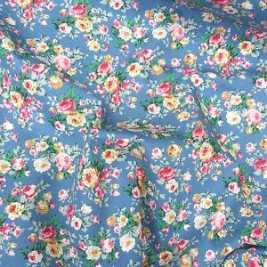 Copen Grey Blue Gold Rose Vintage Floral Fabric Material 100% Cotton HALF METRE