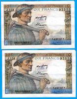 FRANCE 10 FRANCS MINEUR N°CONSECUTIFS TTB