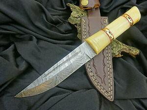 Sax- Mittelalter-Wikingermesser-Damaststahl-Handgeschmiedet-Griff aus Bein-(1541