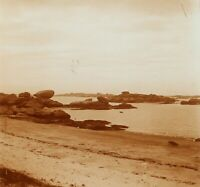 Francia Bretagna Trégastel Spiaggia, Foto Stereo Vintage Placca Lente VR2L1n6