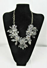 Clear Plastic Necklace Flower Shape with Drops Silver Metal Chain