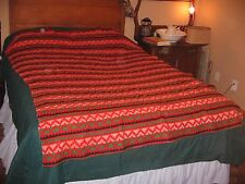 VINTAGE COLORFUL WOOL BLANKET-WESTERN PATTERN-GREAT MULTI COLORS-MADE IN CANADA