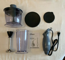 Oster 2-Speed Immersion Hand Blender with Food Chopper Attachment - Gray