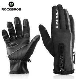 RockBros Bike Gloves Winter Thermal Warm Full Finger Cycling Glove Touch Screen