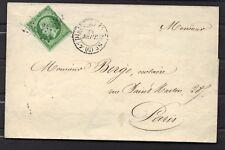 napoleon empire N°12   5 cts vert foncé green 1857  LETTRE COVER Paris stamp