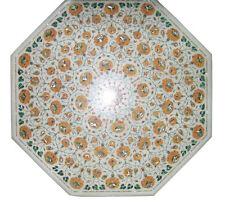"36"" White Marble Table Top center Floral Pietra Dura Handicraft Art Work"