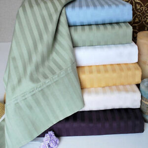 1000 Thread Count Egyptian Cotton Deep Pocket Bedding Items Stripe Color Twin XL