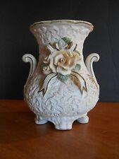 Decorative Flower Vase, pedestal, ceramic, 8.25 inch, rose, white, ribbon