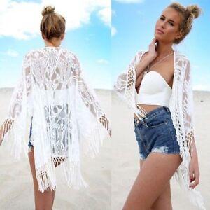 Women Beach Cover Up Kaftan Cape Kimono Cardigan Lace Blouse Top Jacket Coat UK