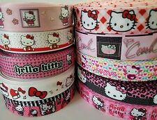 "10 Yards 7/8"" & 1"" hello kitty Mixed Lot Grosgrain Ribbon Hair Bow Supplies"
