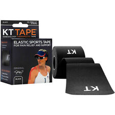 "KT Tape Cotton 10"" Precut Kinesiology Therapeutic Sports Roll, 20 Strips, Black"