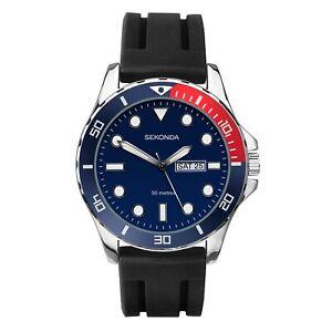 Sekonda Pepsi Bezel Mens Watch Blue Dial Black Silicone 1687 RRP £99 SALE!