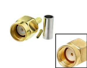 RP SMA male plug crimp connector x 10 RG58 RG142            378