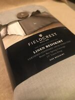 NEW Solid Linen KING Bed Skirt - Fieldcrest CASHMERE GRAY