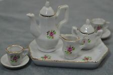 Tea Set for two by DELTON FINE COLLECTIBLES TEA SET Roses Miniature