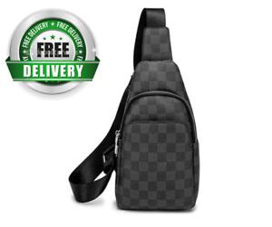 Men's Leather Checkered Sling Bag Crossbody Chest Shoulder Purse Handbags Travel