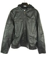 Vintage Guess Black Faux Leather Biker Jacket Hooded Men's Small Cafe Racer