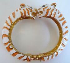 Kenneth Jay Lane Bangle Bracelet Animal Tiger Orange White Enamel Gold-Plated