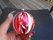 Vintage Glass Christmas Ornament Red & White Striped With Gold