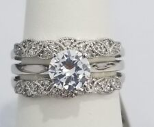 14k White Gold 1/4 .25 CT Diamond Solitaire Enhancer Guard Round Vintage Ring