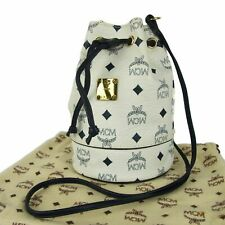 Auth MCM Vintage Logos Monogram Leather Drawstring Shoulder Bag Germany 5736bkc
