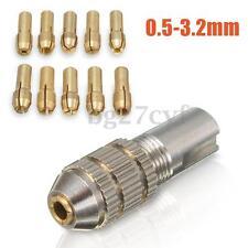 11Pcs 0.5-3.2mm Mini Electric Drill Bit Set Collet Micro Twist Chuck Axis Tool